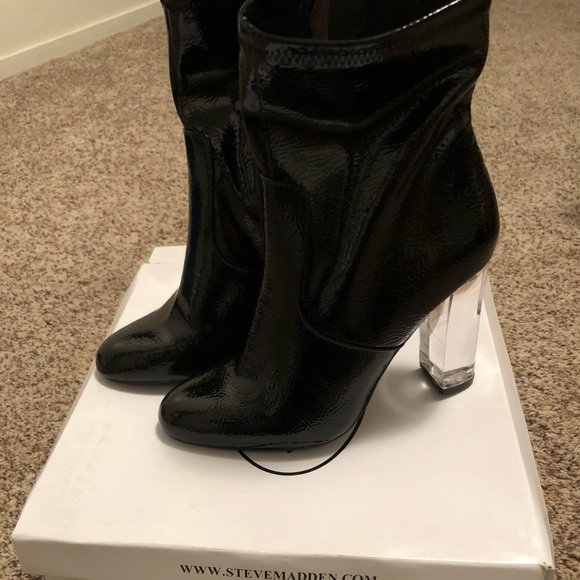 34946e35a0 Steve Madden Shoes | Eminent Black Patent Leather Bootie | Poshmark